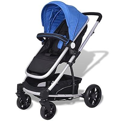 Festnight- Cochecito de Bebé de Aluminio Sillas de Paseo 97 x 49 x 101 cm Azul y Negro