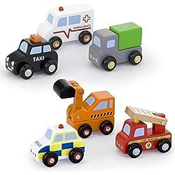 Vortigern - V51022 - 6 Vehículos en Miniatura de Madera Conjunto de Juguete inc Digger, Camión, Camión de bomberos, Taxi.