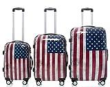 Polycarbonat Hartschale Koffer 2060 Trolley Reisekoffer Reisekofferset Beutycase 3er oder 4er Set in 7 Motiven (America(3er Set))