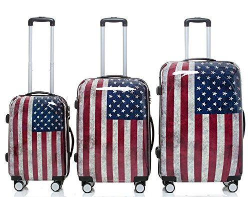 Trolley Valigia da viaggio in policarbonato Custodia rigida 2060cover caso di 3o Set di 4in 12disegni., - America(3er Set), Set