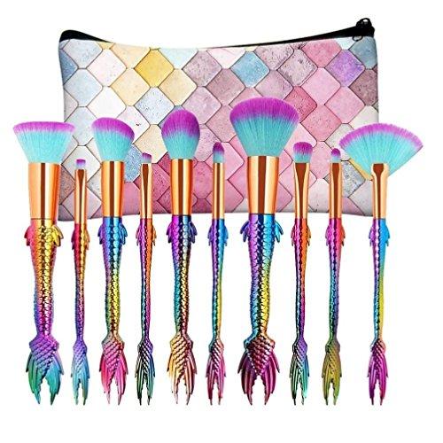 Yogogo MAANGE 10 pcs Multicolore Ensemble de laine de maquillage professionnel en laine Fondation Powder Eye Etiquette Eyeliner Blush Cosmetic Correcteur Brosses
