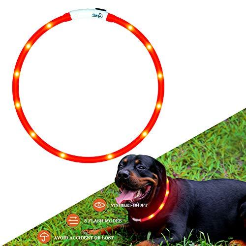 714701fc8ba3 Collar de perro de seguridad LED intermitente collar con USB batería y  ajustable Adecuado para tamaño