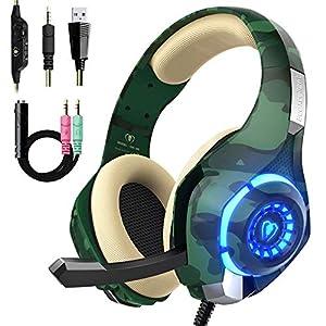 Beexcellent Gaming Headset für PS4 PC Xbox One Stereo Sound Over-Ear Kopfhörer mit Rauschunterdrückung Mikrofon Lautstärkeregler und LED-Licht für Laptop Tablet Mac