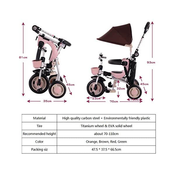 JYY 4-in-1 Baby Tricycle Folding - Kids Pedal Trike with Pushing Handle, Detachable Canopy, Non-slip Pedal, Safety Guard,Brown-1 JYY 4-IN-1 MULTIFUNCTIONAL: A stroller (Foldable) that can become a steering trike, learning to-ride trike and finally a classic trike. 3-Stage trike adjusts as child grows. For baby from 18 months, within 25kg. DURABLE MATERIAL: This push trike is made of High-quality carbon steel frame with superior strength, anti-corrosion and anti-peeling. Adjustable canopy with 600D oxford fabric blocks harmful UV rays. SAFETY DESIGN: High-back support, surrounded guardrail prevent sliding out or overly leaning forward. Hollow wheels prevent clamped feet. 7