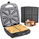 VonShef 2 in 1 Waffle Maker and Sandwich Toaster | 4 Slice Toastie