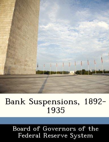 Bank Suspensions, 1892-1935