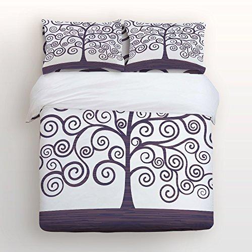 Bettwäsche-Set Ultra Soft Hypoallergen Mikrofaser verblassen schmutzabweisend Bettdecke Fall Tröster pillowcasesgustav Klimt Love Kiss Berühmte Ölgemälde Creative Design Queen Size Lila/Weiß