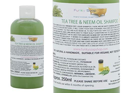 Funky Soap 1 Bouteille Liquide Thé& Arbre Neem Huile Shampoing 100% Naturel sans SLS 250ml