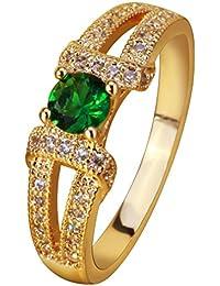 YAZILIND elegante joyeria mujer chapado en oro verde zirconia cubicos promesa anillo de la eternidad banda aniversario tamano 9