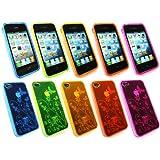 Emartbuy Apple Iphone 4 4G 4Gs Hd Bundle Pack Of 5 Floral Gel Skin Cover / Case Gelb, Pink, Grün, Orange & Blue