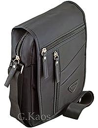 Ormi By G.Kaos - Borsa Borsello Uomo Tracolla Regolabile Nylon Nero - Multitasche (821 Black)