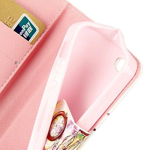 Etsue für Apple iPhone SE/iPhone 5S Blau Anker Streifen Leder Brieftasche Case Hülle Muster, Bunte Retro Painted Wallet Flip Case Cover Leder Case Tasche Bookstyle Lederhülle Magnetverschluß Standfunk Bunte Blumen Traumfänger
