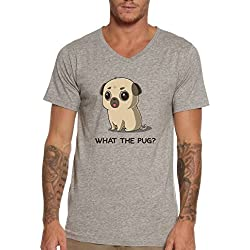What The Pug? Pug Dog Funny Quote Cute Men's V-Neck T-shirt 100% Cotton Size Chart Medium