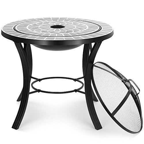 VonHaus Dark Grey Mosaic Fire Pit / Coffee Table with BBQ Grill - Garden Brazier Bowl for Cooking & Patio Heating