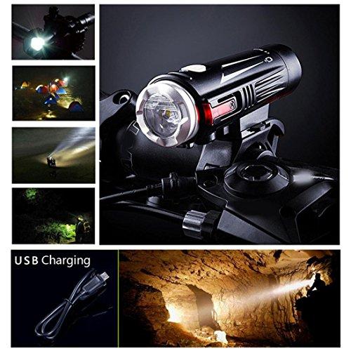 LED Fahrradbeleuchtung, USB Wiederaufladbare Wasserdicht IPX-6, 5000 Lumen 3000mAh Akku USB Aufladbare Fahrradlichter, LED Frontlicht, Zoombarer Effekt für Berg-Radfahren - 2 Licht-Modi für Radfahren Camping und täglichen Gebrauch