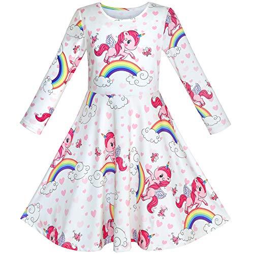 (Mädchen Kleid Einhorn Regenbogen Lange Ärmel Beiläufig kleiden Gr. 104)