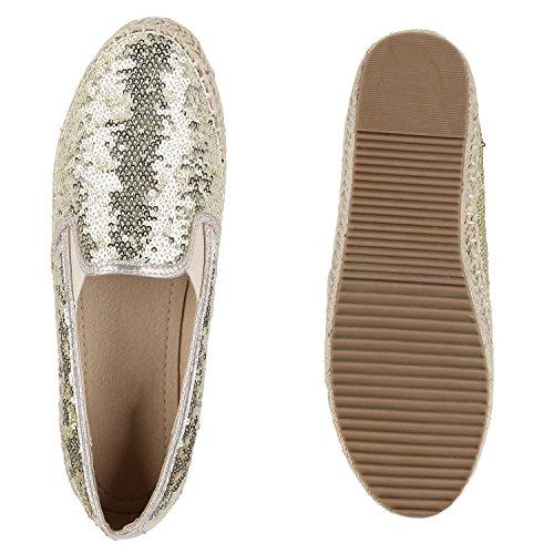 Damen Espadrilles | Bast Slipper | Glitzer Sommerschuhe | Metallic Flats Pailetten | Stoff Schuhe Plateau Gold Pailletten