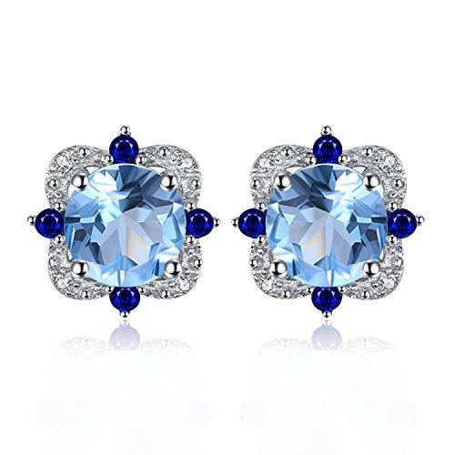 JewelryPalace Moda 2.25ct Naturale Topazio Azzurro Orecchini a Perno Argento Sterling 925