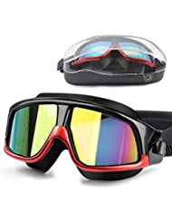 DasMeer Swimming Goggles Adults, Swimming Goggles Anti-Fog Anti-Leak UV Protection Mirror Coated Large Swim Goggles No Leaking, with Storage Case Swimming Goggles for Men/Women