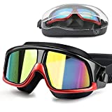 DasMeer Swimming Goggles Adults, Swimming Goggles Anti-Fog Anti-Leak UV Protection Mirror Coated Large