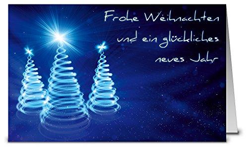 Weihnachtskarten blaue Leucht-Bäume mit Umschlag, Set: 50 Stück hochwertige Klappkarten (Querformat 19×12 cm groß) & Umschläge, für stilvolle Grüße an
