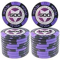 COSDDI 20 Piezas Fichas de Póker Casino Club Fichas de Póker a Granel - Elija Denominación ($500)
