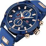 Uhren Herren Wasserdicht Herren Analog Quarzuhr mit Kautschukband Herren Sportuhr Chronograph Date Business Kleid Armbanduhr für Männer Gold Blau Uhr