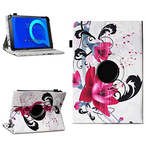 NAUC Alcatel 1T 10 Tablet Tasche Schutzhülle hochwertiges Kunstleder Hülle Standfunktion 360° Drehbar Cover Universal Schutz Case, Farben:Motiv 7