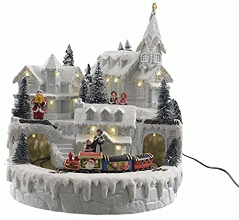 Weihnachten Dekoration 23cms LED Weihnachts Animierter Snow Village Szene mit fahrenden Zug
