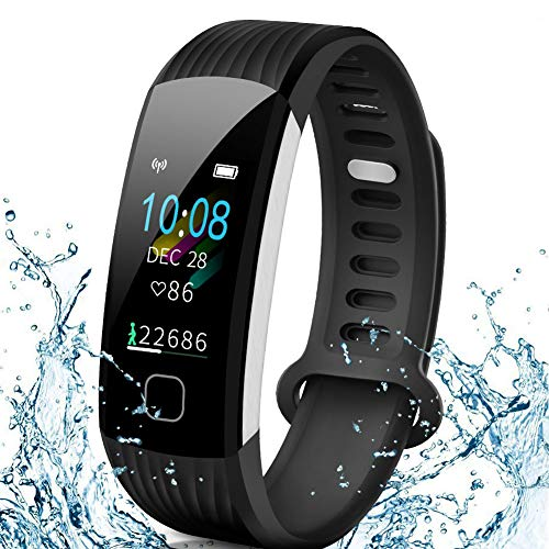 AISIRER Fitness Armband Uhr Fitness Tracker mit Pulsmesser Wasserdicht IP67 0.96 Farbbildschirm Schrittzähler Smartwatch Schlafmonitor Vibrationsalarm Anruf SMS Whatsapp Beachten für IOS Android Handy (Lg Tablet Bluetooth Fall)
