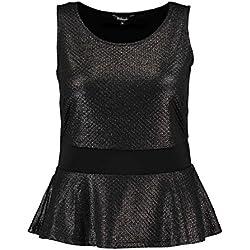 MS Mode Damen, Schößchen-Top, Schwarz, EU XL