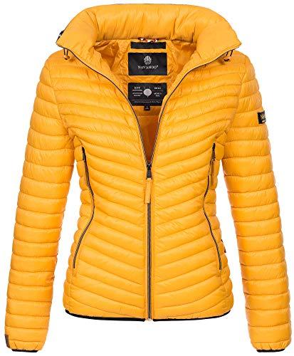 Navahoo Designer Damen Jacke Steppjacke Übergangsjacke gesteppt Kapuze B654 [B654-Par-Gelb-Gr.L]