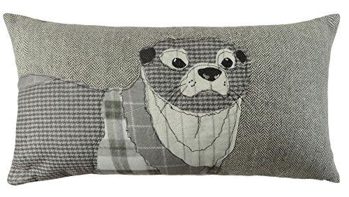 gefüllt Boudoir Silber Grau Otter Herringbone Kissen passend zum Bettbezug 28x 48cm (Grau Boudoir Kissen)