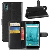 ECENCE Wiko Lenny 4 Plus Schutz-Hülle Handy-Tasche Case Cover Book-Case Wallet Brieftasche Book-Style mit Standfunktion Standfuss Schwarz 11020308