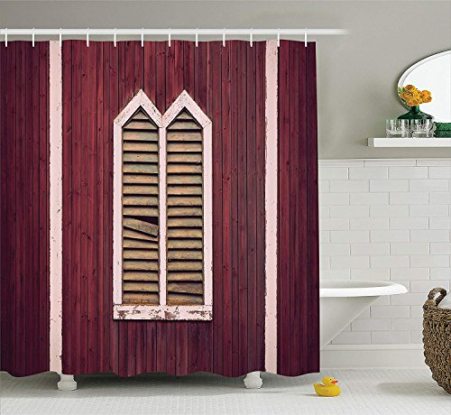 JIEKEIO Shutters Decor Shower Curtain Set, Window Frame with Shutters on Wooden Wall Vintage Style Decorating Artwork Print, Bathroom Accessories, 60 * 72inchs Long, Burgundy Pink -