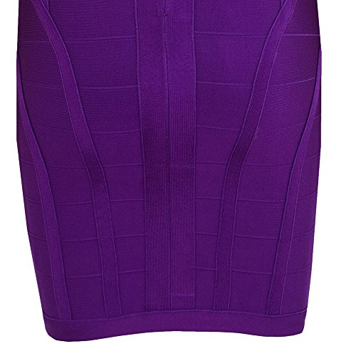 HLBandage Women's Rayon Deep V Neck Layering Bodycon Bandage Dress Violet