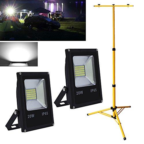 Hengda® 2X 20W Außen LED Fluter Kaltweiß Scheinwerfer mit Stabiles Höhenverstellbar Dopel Stativ Teleskop Ständer IP65