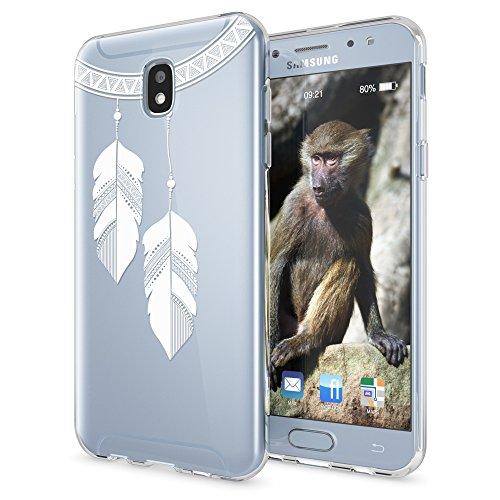 NALIA Handyhülle kompatibel mit Samsung Galaxy J5 2017 (EU-Modell), Motiv Design Schutzhülle Slim Silikon Case, Handy-Tasche Hülle Smart-Phone Etui Muster Back-Cover Dünn, Designs:Chain Feathers -
