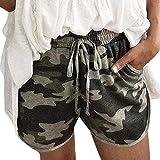 Decha Damen Sport Shorts Kurze Sporthose Camouflage Freizeit Strandshorts Yoga Jogging Sweatshorts Hot Pants Taillen Elastische Mit Tasche(2XL,Armee-Grün)