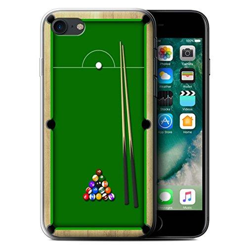 Stuff4 Gel TPU Hülle / Case für Apple iPhone 7 / Darts/Dartpfeile Muster / Spiele Kollektion Billard Grün