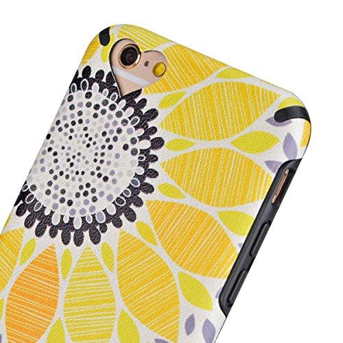 HB-Int 3 en 1 Housse TPU Etui pour Apple iPhone 6 / iPhone 6S (4.7 pouces) Neuf Motif Coque Gel Silicone Souple Couverture avec PU Backcover Légère Slim Flexible Coque Protecteur Fonction Anti Choc An Sunflower Rose