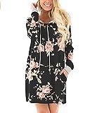 Swallowuk Damen Casual Drucken Blumen Langarm Pullover Kleid mit Kapuze Locker Sweatshirt Kleid mit Tasche (M, Schwarz)