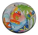 Strandball aufblasbar 51 cm Fisch - aufblasbarer großer Ball - Wasserball Kinder Spielball Aufblasball Luft