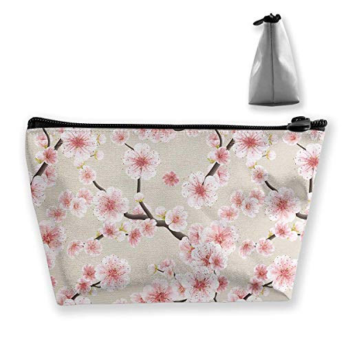 Japanese Flowering Cherry Blossom Cosmetic Makeup Bag/Pouch/Clutch Travel Case Organizer Storage Bag for Women¡¯s Accessories Toiletry Beauty,Skincare Travel Accessory