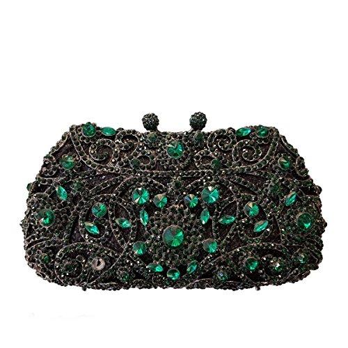 Frauen Paket Luxus-Diamant-Abendbeutel Kristallbrautbeutel Bankett Green
