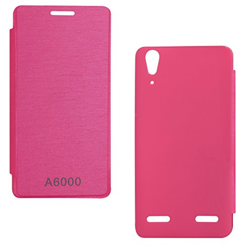 DMG Premium Flip Cover Case for Lenovo A6000 (Pretty Pink)  available at amazon for Rs.129