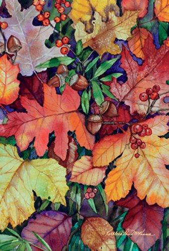 Toland Home Garden Fallen leaves Garden Flag 119745, tessuto, Red/Orange/Yellow/Brown/Green, (Autumn Leaves Tessuto)