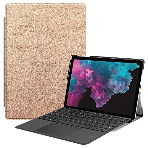 BasicStock Coque Microsoft Surface Pro 4 5 6, Anti-Choc avec Fonction Stand [Fermeture Magnétique] Portefeuille Etui Housse pour Microsoft Surface Pro 4 5 6 (Or Rose)