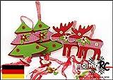 molinoRC | 4X Weihnachts Deko Anhänger | 2X Weihnachtsbaum + 2X Rentier | Filz rot grün mit Franzen und Accessiors | Türanhänger | Adventsdeko Fensterdeko | Weihnachten | Dekoration | Weihnachtsbaum