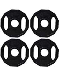 BodyRip–Olympic poligonal peso placas, Unisex, Olympic Polygonal, negro, 4 x 1.25 kg